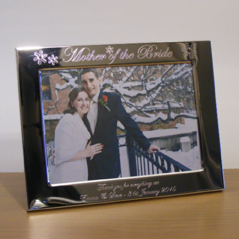 Mother of the Bride Snowflake Photo Frame Personalised Wedding Gift (l/s)